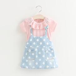 Cuckoo - Kids Ruffle Trim Short Sleeve Dotted Denim Dress