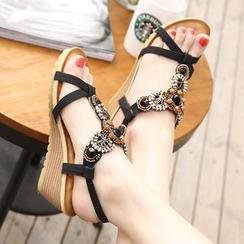 Parkwalker - Embellished Wedge Sandals