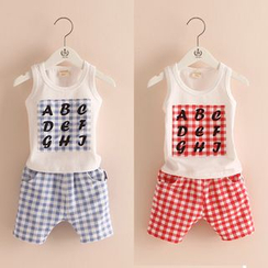 Seashells Kids - Kids Set: Gingham Letter Tank Top + Shorts