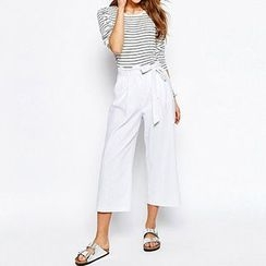 Richcoco - High-Waist Wide Leg Cropped Pants