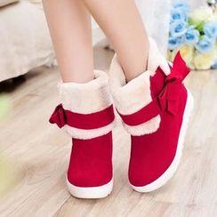Pastel Pairs - Hidden Wedge Bow Fleece Short Boots