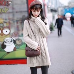 Wind Town - Turtleneck Long Cable-Knit Sweater