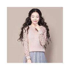 ENKA - Crochet Panel Sweater