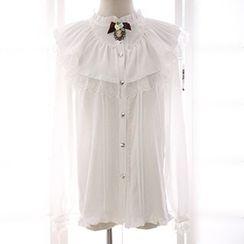 Reine - Frill Collar Lace Trim Long Sleeve Chiffon Blouse