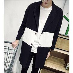 Bay Go Mall - Colour Block Lapel Coat