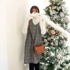 Seoul Fashion - V-Neck Sleeveless Glen-Plaid Shift Dress