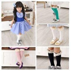 Cuckoo - Kids Lace Trim Long Socks