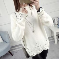 anzoveve - Embellished Mock Neck Sweater
