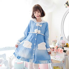 StaRainbow - Bow Sailor Collar Knit Coatdress