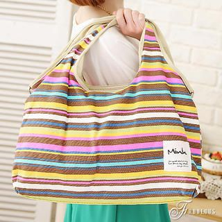 B.B. HOUSE - Multicolor-Striped Canvas Shoulder Bag