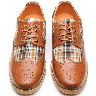 Life 8 - Genuine-Leather Plaid Oxfords