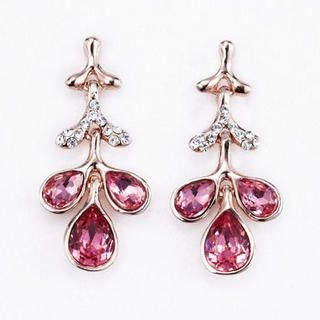Moonbasa - Rhinestone Leaves Earrings