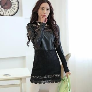 JVL - Long-Sleeve Lace-Panel Faux-Leather Dress