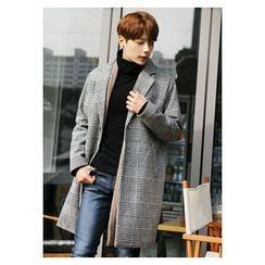 HOTBOOM - Glen-Plaid Wool Blend Coat