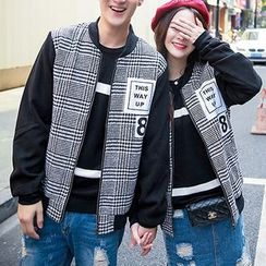Bay Go Mall - Couple Matching Check Baseball Jacket