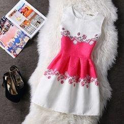 Emeline - Sleeveless Printed A-line Dress