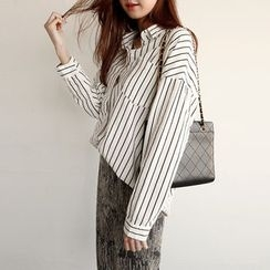 NIPONJJUYA - Drop-Shoulder Pinstripe Shirt