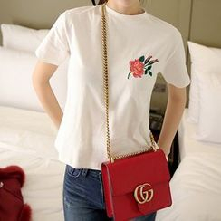 Cerauno - Floral Embroidered Short-Sleeve T-Shirt