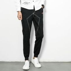 Edway - Contrast Stitching Slim-Fit Jeans