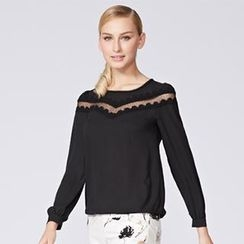 O.SA - Mesh-Panel Chiffon Top