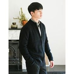 STYLEMAN - Zip-Up Cable-Knit Cardigan