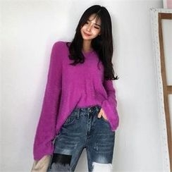 QNIGIRLS - V-neck Furry-Knit Sweater