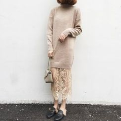 A7 SEVEN - Lace Panel Mock Two-Piece Knit Dress