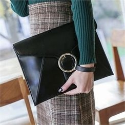JVLLY - Buckled Flap Clutch with Strap