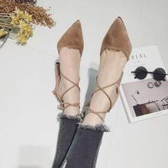 QQ Trend - Chunky Heel Lace-Up Pointy Pumps
