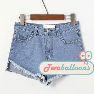 JVL - High-Waist Fray-Hem Denim Shorts