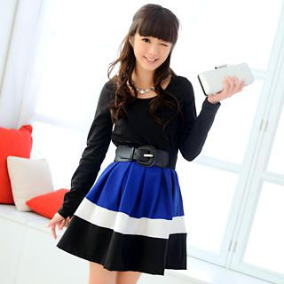 59 Seconds - Color-Block Long Sleeve Dress (Belt not Included)