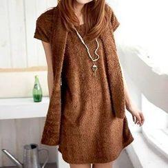 Rocho - Set: Short-Sleeve Dress + Winter Scarf