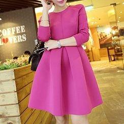 Fashion Street - Plain Long Sleeve A-Line Dress