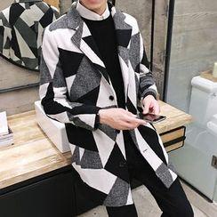 LIBIN - Printed Notch Lapel Long Coat