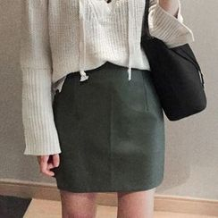 EFO - Long-Sleeve Tie-Front Sweater / Faux-Leather Skirt