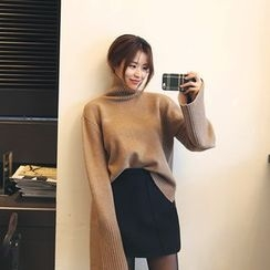 DABAGIRL - Turtle-Neck Long-Sleeve Knit Top