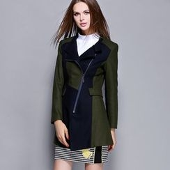 Rosesong - Color Block Zip Coat