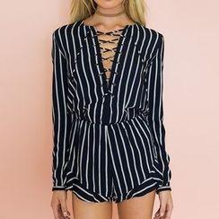 Fundae - 长袖系带细直条纹连衣短裤