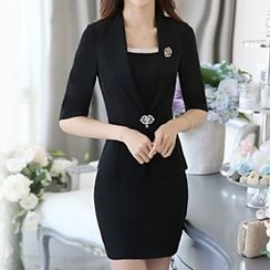 Caroe - 3/4-Sleeve Single Button Blazer / Set: 3/4-Sleeve Single Button Blazer + Skirt