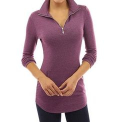 Rebecca - Long-Sleeve Stand Collar T-Shirt