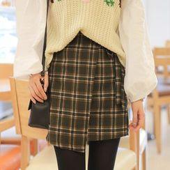 Cherryville - Check Wool Blend Mini Skirt