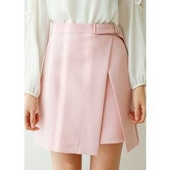 J-ANN - Buckled-Waist Asymmetric-Hem Mini Skirt