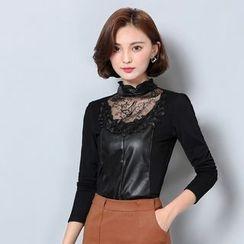 Yumerakka - Lace Panel Long-Sleeve T-Shirt