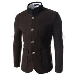 THELEESSHOP - Mandarin-Collar Single-Breast Coat