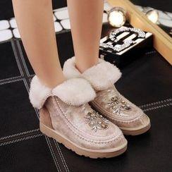 Kireina - Genuine Leather Jeweled Ankle Snow Boots