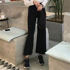 QNIGIRLS - Zip-Side Wide-Leg Pants