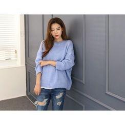 DANI LOVE - Round-Neck Drop-Shoulder Sweater