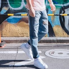 YIDESIMPLE - Patched Slim-Fit Jeans