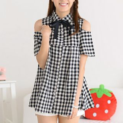 59 Seconds - Cutout Shoulder Gingham Empire Blouse