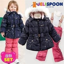 JELISPOON - Girls Set: Padded Ski Coat + Suspender Pants